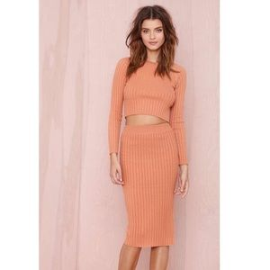 For Love and lemons knitz 2 piece orange skirt set